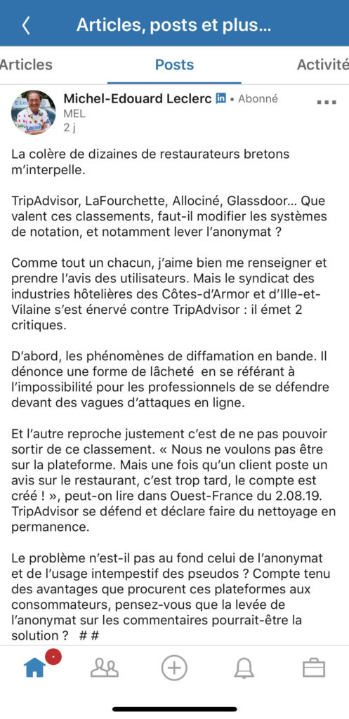 Michel Edouard Leclerc critique Tripadvisor