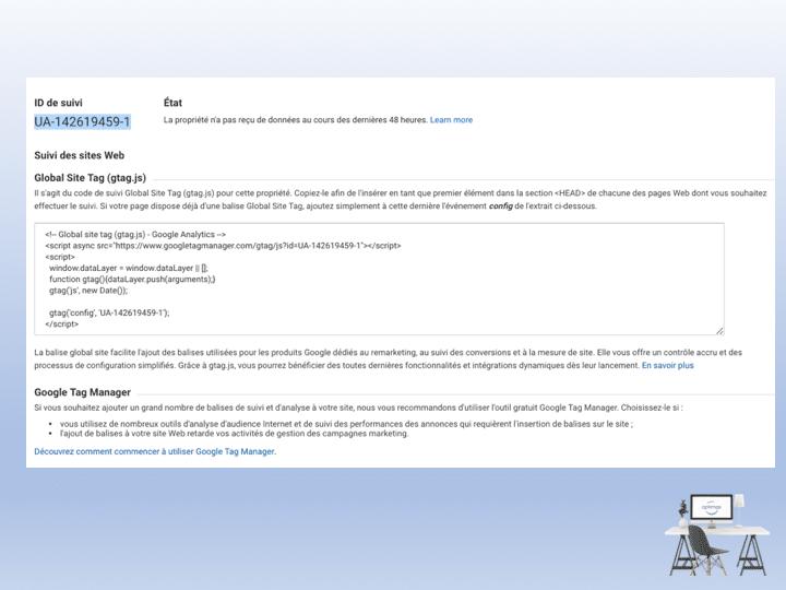 Un ID de suivi Analytics pour rendre mon site visible sur Google