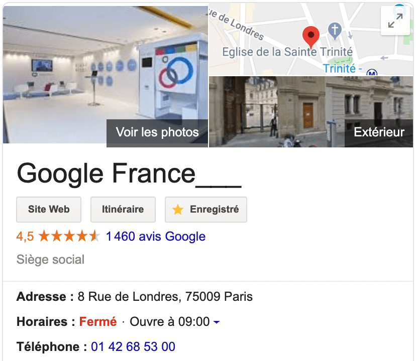 Knowledge graph google adresses