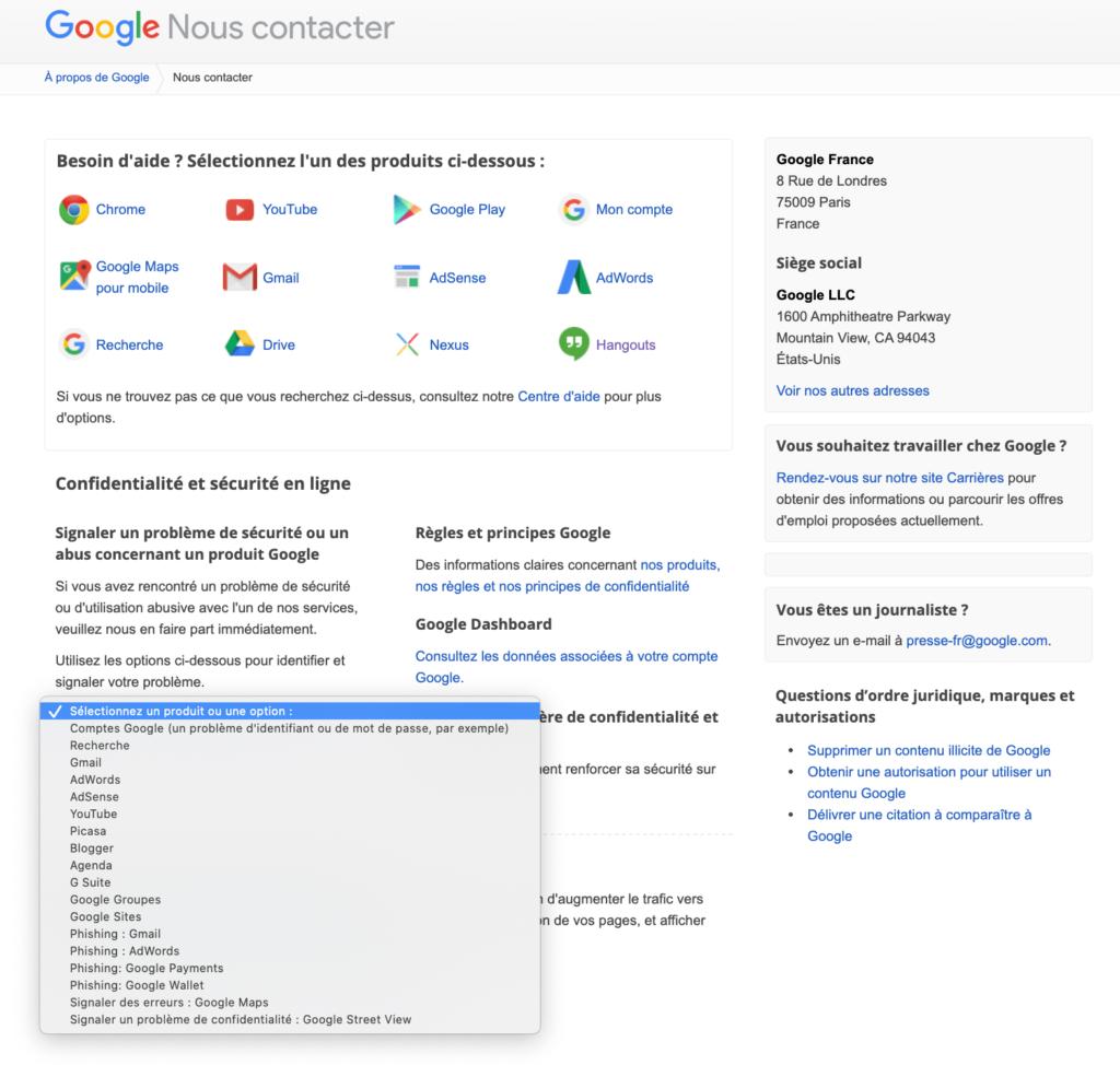 Nous contacter google