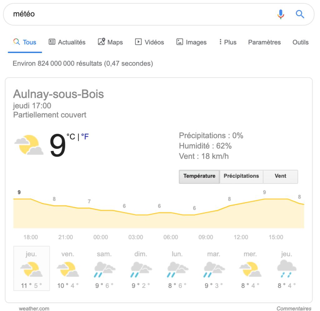 Position zéro du mot météo
