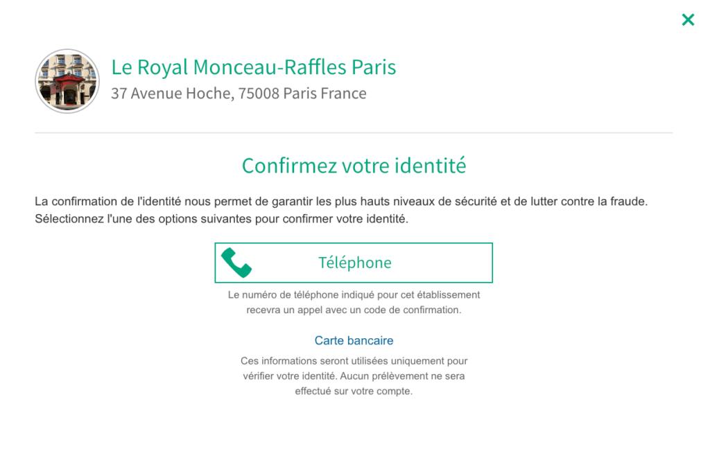 Confirmer identité par téléphone Tripadvisor