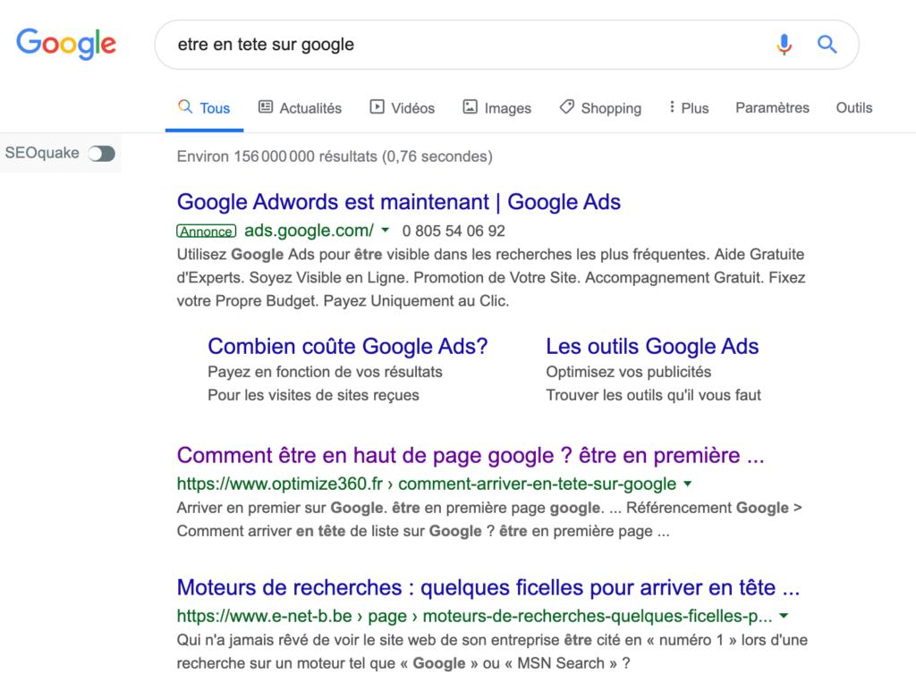 Etre en tete sur Google