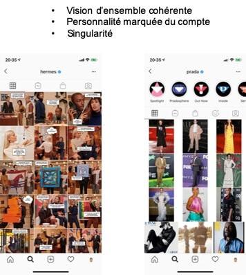 Exemples Hermees Prada Instagram