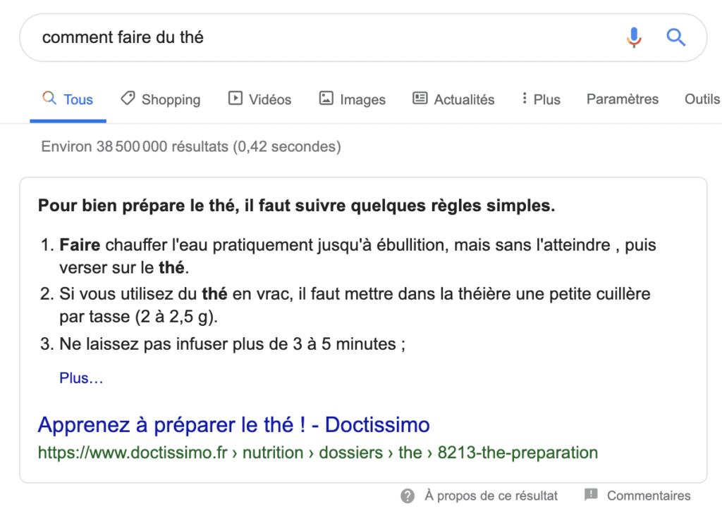 Position 0 seo sous forme de listes numérotées